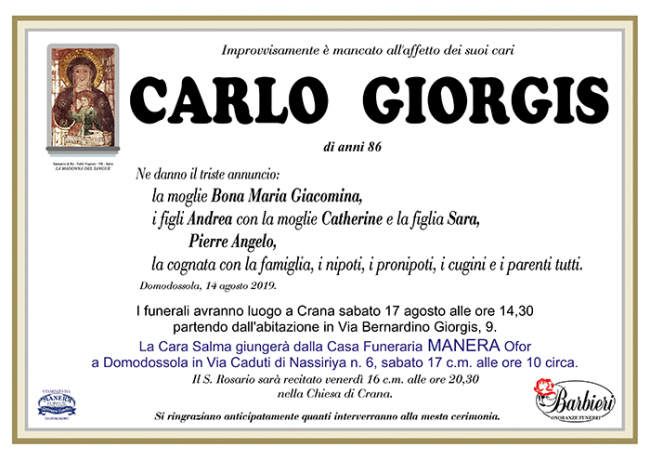 annuncio Giorgis Carlo c